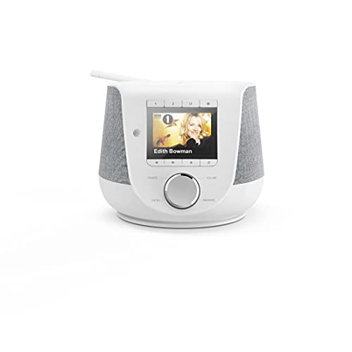 Hama Internetradio mit Digitalradio-Empfang & Handy-Ladefunktion, Smart Radio DIR3200SBT (WLAN/DAB/DAB+/FM, Bluetooth/Spotify Streaming, Stationstasten, Radio-Wecker, App) Mini Internet Radio weiß