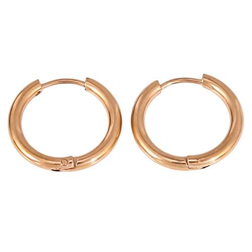 Timesuper Pendientes de aro de acero inoxidable 316L para cartílago, pendientes de aro sin costuras, para hombres y mujeres, oro rosa, 2,5 x 12