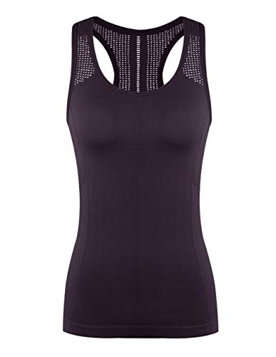 Yoga Tops for Women Cute Workout Tank Tops Activerwear Racerback Laser Cut Tank Running Sports Shirts Purple