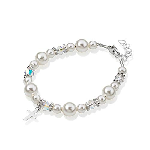 Sterling Silver Cross Charm Bracelet for Kids - with European Simulated Pearls and Crystals - Best First Communion Gift for Boys and Girls
