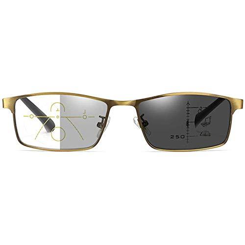 Multifokale Photochrome Lesebrillen Optische Presbyopie-Gläser Spring Hinged Sun Readers Für Intelligente Farbwechselgläser,+1.50