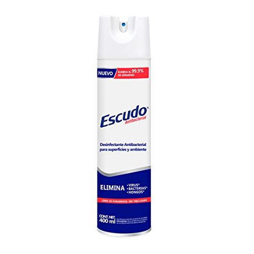 Escudo Antibacterial, Aerosol Desinfectante para Superficies y Ambiente, 1 Pieza de 400 ml con más de 75% de Alcohol