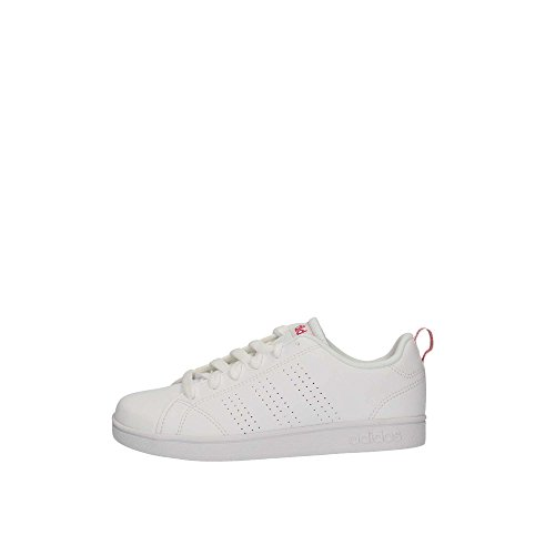 adidas Unisex-Kinder Vs Advantage Cl K Laufschuhe, Weiß (Ftwr White/Ftwr White/Super Pink F15), 38 2/3 EU