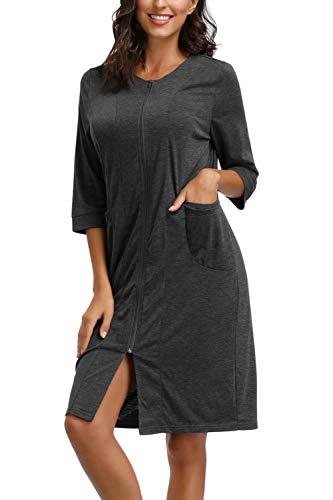 Zexxxy Bademantel Damen mit Zipp Lang Ärmel Saunamantel for Spa Schlafrock Reißverschluss Nachthemd Dunkelgrau S=EU 36-38