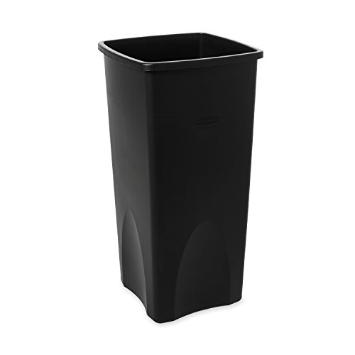 Rubbermaid Commercial Products Untouchable Square Trash/Garbage Can, Black (FG356988BLA)