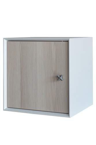 FACKELMANN Unterschrank IX! / Badschrank mit Soft-Close-System/Maße (B x H x T): ca. 35 x 35 x 30 cm/hochwertiger Schrank/Türanschlag frei wählbar/Korpus: Weiß/Front: Braun/Breite 35 cm