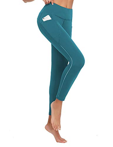 BALEAF Women's Running Tights High Waisted Workout Pants Long Winter Leggings Pockets Reflective UPF50+ Peacock Blue Size S
