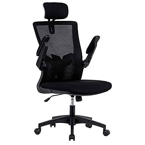 Bürostuhl Ergonomischer Schreibtischstuhl mit Einstellbare Kopfstütze & Armlehnen Höhenverstellung und Wippfunktion Leisen Rollen Verdicktem Sitzkissen bis 150 kg