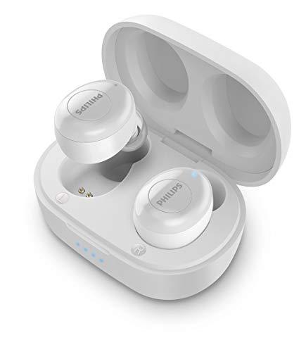 Philips True Wireless Kopfhörer T2205WT/00 (Bluetooth In Ear Kopfhörer, Sprachassistent, Hohe Akkulaufzeit, Spritzwasserschutz IPX4, Extra kleine Ladetasche) Weiß - 2020/2021 Modell