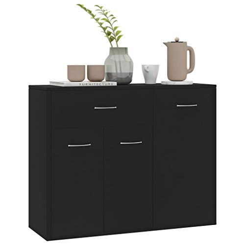 WooDlan - Aparador Buffet salón Comedor 3 Puertas, Color Negro, Medidas: 88 x 30 x 70 cm
