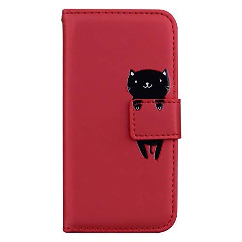 Generic Handyhülle für Huawei Y5 2018/Y5 Prime 2018 Hülle Leder Schutzhülle Brieftasche mit Kartenfach Magnetisch Stoßfest Handyhülle Case für Huawei Y5 2018/Honor 7S - XIHMI010534 Rot