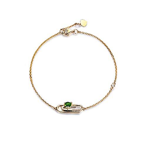 Beydodo Damen Armband 18K Gold Echt 16CM Büroklammer Herz Diopsid Hochzeit Armband Rosegold