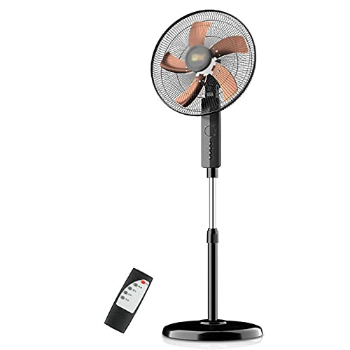 Ventiladores de pie de pedestal, ventilador de escritorio, ventilador eléctrico de piso, enfriador de aire, 3 velocidades, silencioso, temporizador, altura ajustable, para el hogar y la oficina