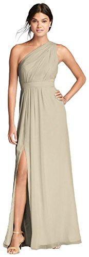 David's Bridal Long One-Shoulder Crinkle Chiffon Bridesmaid Dress Style F18055, Champagne, 0