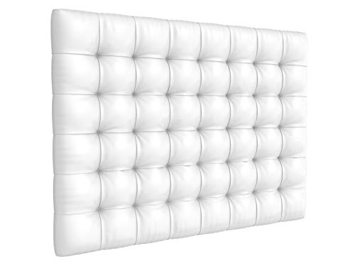 LA WEB DEL COLCHON - Cabecero tapizado Manhattan para Cama de 180 (190 x 120 cms) Blanco | Cama Juvenil | Cama Matrimonio | Cabezal Cama |