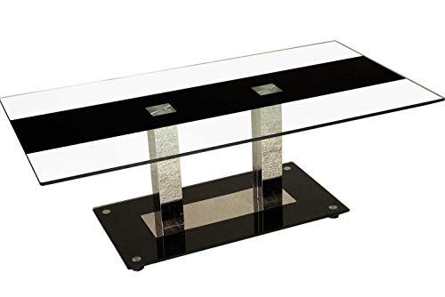 ** WERKS-ABVERKAUF ** Detroit Couchtisch mit 2 Edelstahlsäulen. Tischplatte mit dekorativem Schwarzstreifen. Sockelplatte in Schwarzglas mit Bodenabstandshalter. Größe: 120 x 65 cm Höhe: 43cm