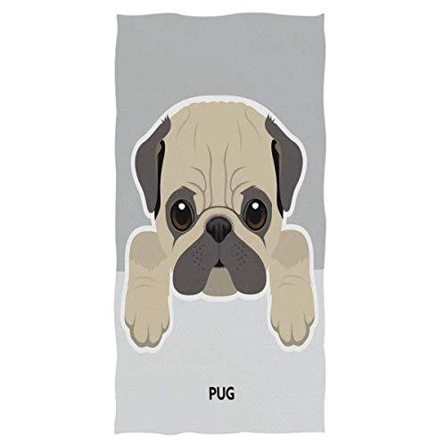 Patrón de Perro Toallas de Mano Grandes Toalla de baño Pug Toalla de baño Multiusos Ultra Suave Altamente Absorbente para la Mano, la Cara (40x70cm)