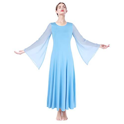 IMEKIS Donna Liturgico Danza Abito Manica Lunga Abito da Tinta Unita Lirico Preghiera Dancewear Ginnastica Balletto Combinazione Costume Elegante Casual Lungo Festa Vestito Azzurro XL