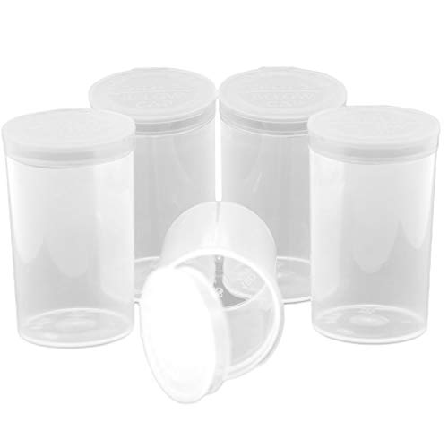 Emerald Mountain Supplier Pop Top Dram Containers | Durable Airtight Multipurpose Storage | Herb and Pill Organizer | Dram Case Bottle Size 19 Dram (240) Containers per Case in Clear