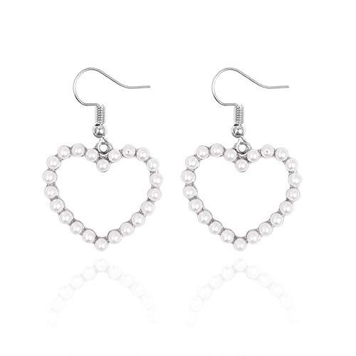 JCX Pendientes de Perlas Pendientes exagerados Huecos de Amor en Forma de corazón Pendientes Femeninos