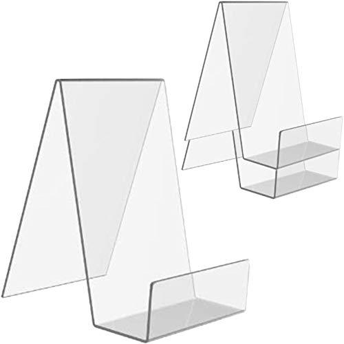 Acryl Buchstütze Transparent,3PCS Plexiglas Buchständer, Warenträger aus Acryl,Buchhalter Tisch,Fotoalbum und Prospektständer für Bücher angezeigt, Notebooks, Bilderalben, Bilderbücher usw