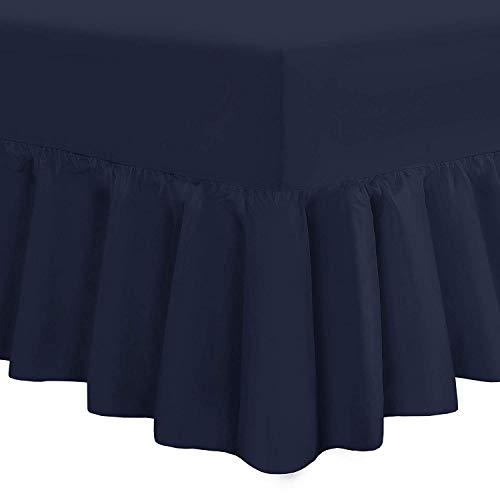 Nimsay Home Bettlaken in Hotelqualität, weich, einfarbig, 100 % ägyptische Baumwolle, Fadenzahl 200, gerüscht, Ägyptische Baumwolle, navy, King Size