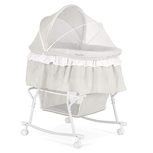 Dream On Me Lacy, Portable 2-in-1 Bassinet & Cradle, Light Grey