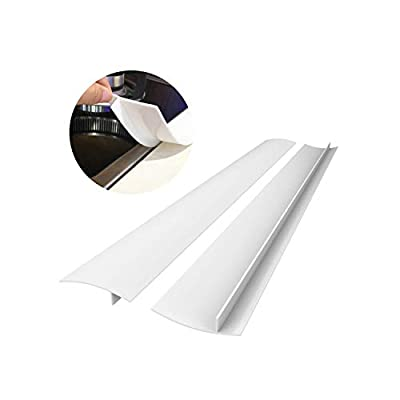 Silicone Kitchen Stove Counter Gap Cover Long & Wide Gap Filler (2 Pack) Seals Spills Between Counters, Stovetops, Washing Machines, Oven, Washer, Dryer - Heat-Resistant and Easy Clean (White)