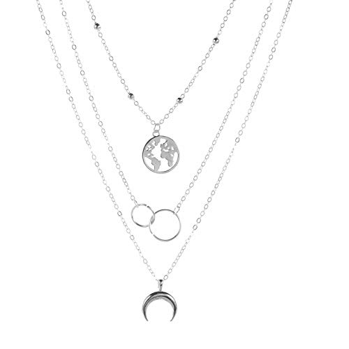 Collar Retro Moon World Map Circle Pendant Multilayer Gold Necklace Party Charm Jewelry Accessories For Women Silver