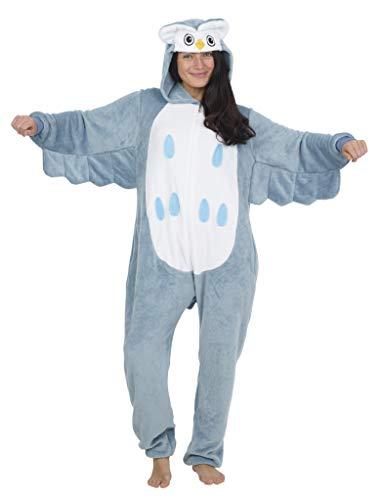 CityComfort Pyjama Onesie Für Damen Lang Tier Cosplay Kostüme aus Fleece Damen Einhorn Schlafanzug Jumpsuit Overalls Onesie Kostüm Fasching Karneval Kostüm Für Erwachsene (M, Eule)