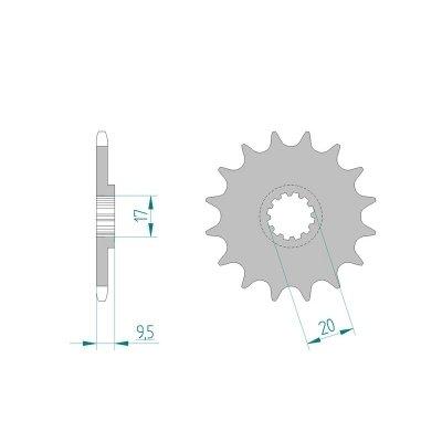 AFAM Ritzel Teilung 420 Zähne 12 für KTM SX 65, Bj. 2011 | Maße Welle: 17/20mm | Höhe/Versatz: 9,5mm