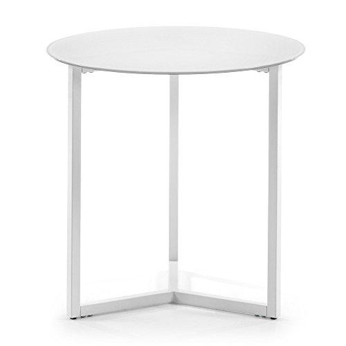 Kave Home - Mesa Auxiliar Raeam Blanca Redonda Ø 50 cm de Cristal Templado y Patas de Acero en Blanco