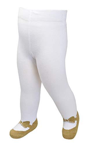 Baby Mädchen Strumpfhosen Leggings im Mary Jane-Design - Anti-Rutsch-Sohlen - weiche Baumwolle (GOLD-SCHLEIFEN MOTIV, 6-12 Monate)