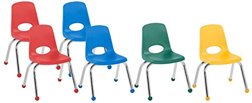 "FDP 14"" School Stack Chair, Stacking Student Chairs with Chromed Steel Legs and Ball Glides - Assorted Colors (6-Pack)"