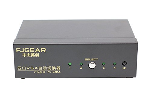 FJGEAR 4 Port Auto VGA Switch with IR Remote Control, 1 Monitor for 4 Computers Switcher