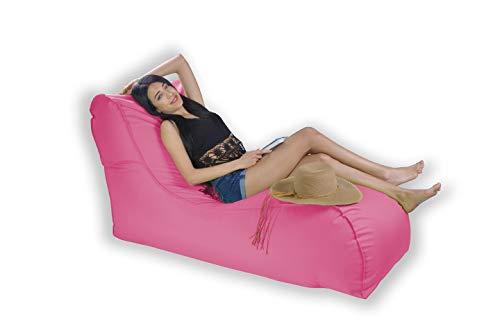 Easysitz Sitzsack Liege Outdoor mit Lehne 135x65x70 cm Sitzsäcke Indoor Relax Lounge Groß Liegesessel Liegekissen Liegematte für Kinder Erwachsene Innensack Wasserfest Waschbar (XL - Rosa)