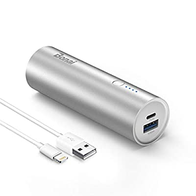 Bonai Portable Charger 5800mAh Ultra-Compact Power Bank Premium Aluminum External Backup Battery Pack with High-Speed Output for Samsung, Huawei, iPhone, iPad, iPod-Silver (Lightning Cable Included)