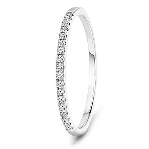 Miore Schmuck Damen 0.08 Ct Diamant Ewigkeitsring mit Brillanten Hochzeitsring aus Weißgold 9 Karat/ 375 Gold
