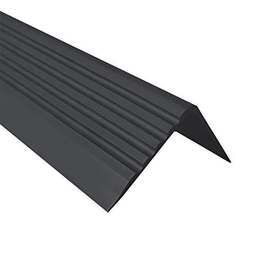 Treppenkantenprofil Selbstklebend PVC Kunststoff Antirutsch-Profil Winkelprofil 50x42, schwarz, 200cm