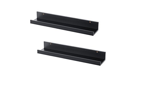 Set of 2 Modern Black Floating Ledge Shelf for Photos, Pictures, Frames Mosslanda 21 3/4' Each