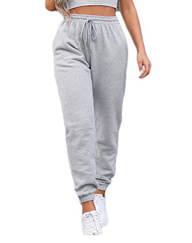 Women's Solid Sweatpants Drawstring Jogger Sweat Pants Cinch Bottom Casual Elastic Waist Workout Trousers (Grey, Small)