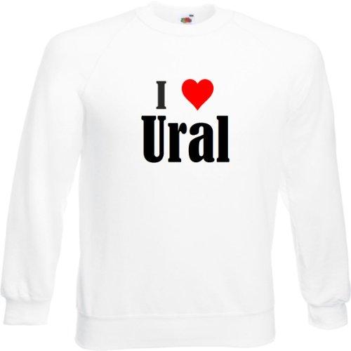 Reifen-Markt Sweatshirt Damen I Love Ural Größe S Farbe Weiss Druck Schwarz