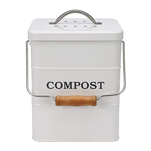 ayacatz Composteur en acier inoxydable 3,5 l avec filtre à charbon