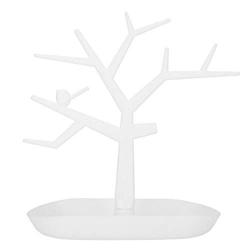FikaLife Estante de joyería de árbol de pájaros Exhibición Pendientes Collar Rack Rack de almacenamiento Torre Estante de almacenamiento (Blanco)
