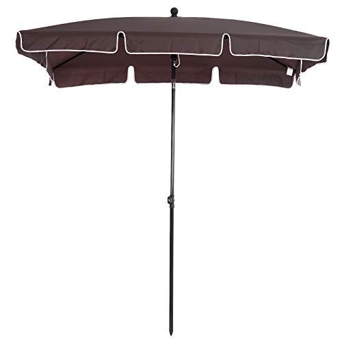 Outsunny Sombrilla Cuadrada Grande Parasol con Ángulo Ajustable para Patio Terraza o Jardín 198x130x240cm En Color Marrón