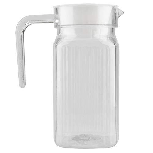 De agua de vidrio, jarras de vidrio con asa y tapa para agua, jugo, té helado, limonada y leche, jarra de agua de forma cuadrada