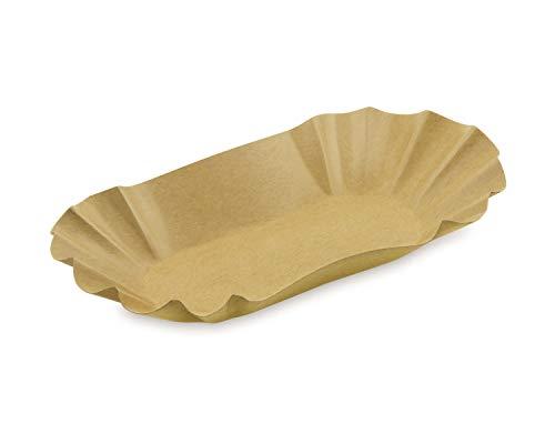 BIONATURE - Juego de 500 bandejas de cartón ovaladas para comida o barbacoa, color marrón, 10,5 x 17,5 x 3 cm, resistentes a la grasa, reciclables