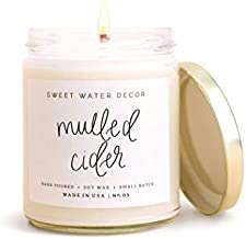 Sweet Water Decor Mulled Cider Candle | Autumn Apple, Cranberries, and Orange Fall Scented Soy Wax Candle for Home | 9oz Clear Glass Jar, 40 Hour Burn Time, Made in the USA