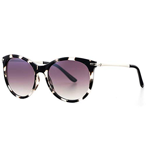 Avoalre Gafas de Sol Mujer Vintage Retro Leopardo Gafas de Sol Mujer Redondas Lentes Protección UV400 Punte de PC y Montura de Acero Inoxidable para Viaje Playa Fiestas Conducir
