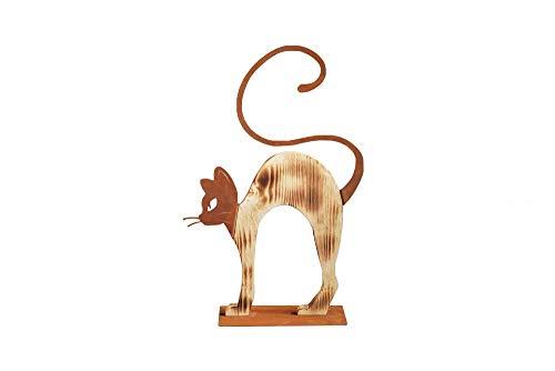 Chat chat buckelnd bois Chat rouille bois rouille patine Métal décoratif décoration fête des mères cadeau